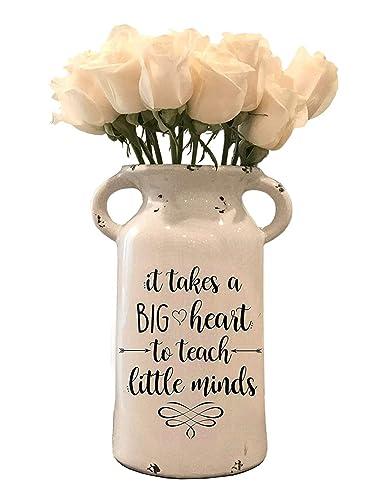 Amazon Com Teacher Appreciation Gift Farmhouse Milk Can Personalized Ceramic Milk Can Personalized Milk Can Personalized Flower Vase Gifts Handmade