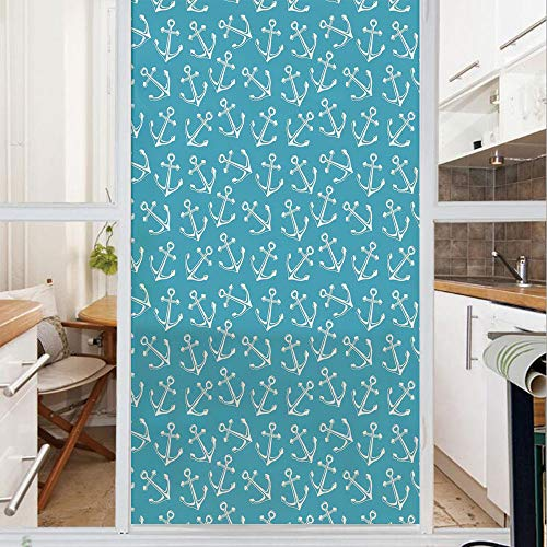 Decorative Window Film,No Glue Frosted Privacy Film,Stained Glass Door Film,Stylized Pattern Cruise Sail Ocean Sea Travel Theme Vintage Design Summer Season,for Home & Office,23.6In. by 47.2In Blue Wh