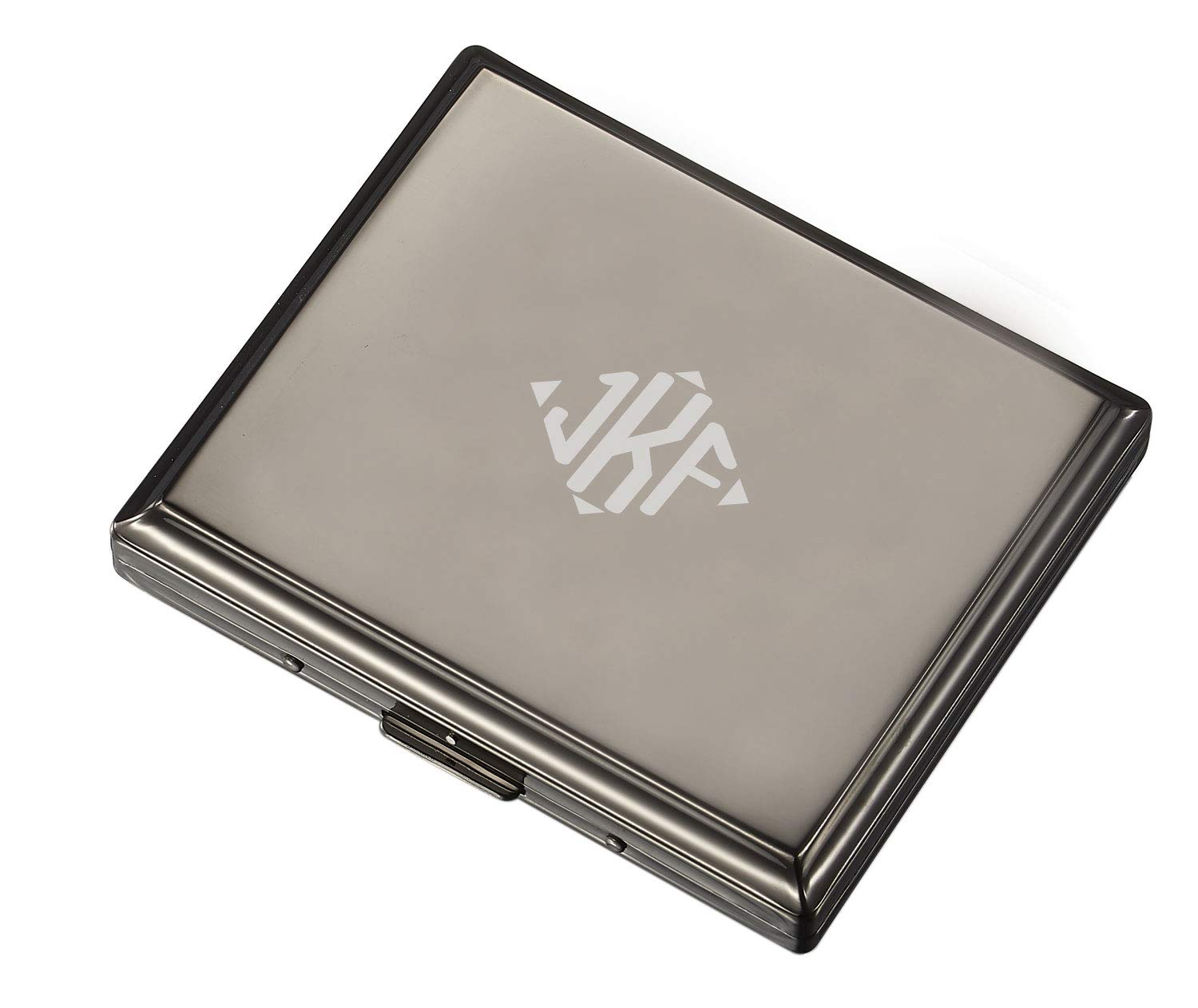 Personalized Visol Gunmetal Double Sided Travel Cigarette Case with Free Laser Engraving (Diamond Monogram)