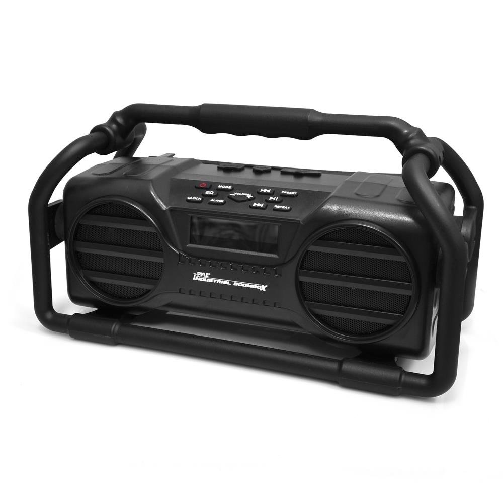 Pyle Industrial BoomBoX Bluetooth Stereo Speaker, Rugged Water-Resistant Radio Boom Box, Rechargeable Battery, MP3/USB/SD/AUX- Black by Pyle