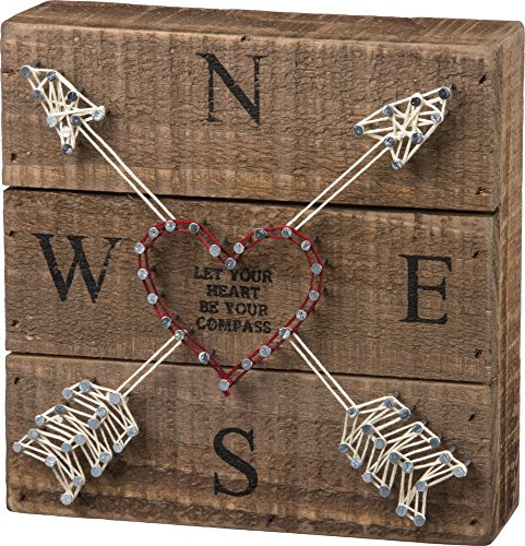 Primitives by Kathy String Art Box Sign, 6 x 6, Let Your Heart Be Your Compass -