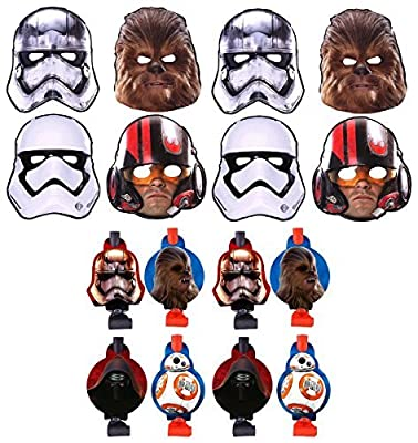 Star Wars The Force Awakens Birthday Party Favors Pack Including Blowouts, and Kids Party Masks - 8 Guests
