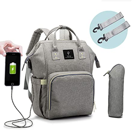Jusale Baby Diaper Bag Large Multifunction Waterproof with USB Port Grey