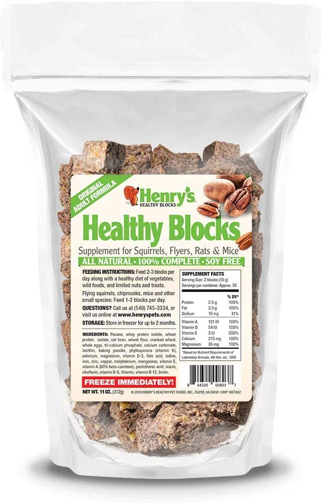 Henry's Healthy Blocks, 11 Ounces - The Only Food for Squirrels, Flyers, Rats and Mice Baked Fresh to Order