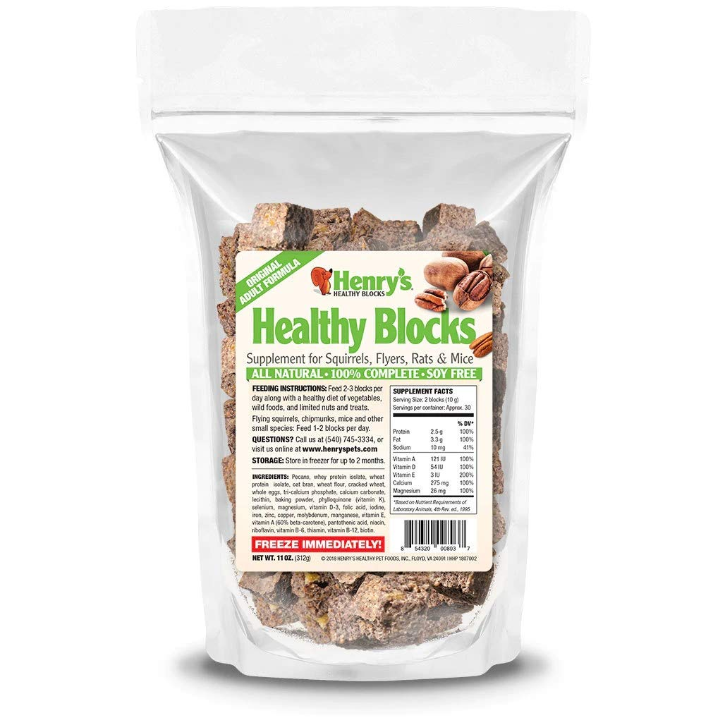 Henry's Adult Blocks, 11 Ounces - The Only Food for Squirrels, Flyers, Rats and Mice Baked Fresh to Order by Henry's Healthy Pets