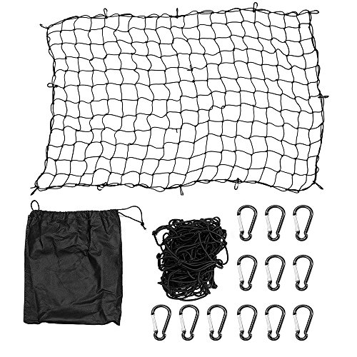 DEDC 4' x 6' Super Duty Cargo Net Black with 12 Clips Carabiners, Stretches to 8' x 12' for SUV/Trailer/Pickup Truck Bed