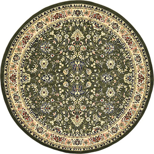 Unique Loom Kashan Collection Traditional Floral Green Home Décor Round Rug (8' x (Green 8' Round Rug)