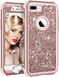 Vofolen iPhone 8 Plus Case, iPhone 7 Plus Case Glitter Bling Shiny Heavy Duty Protection Full-body Protective Hard Shell Rubber Bumper Armor with Front Cover for iPhone 8 Plus iPhone 7 Plus -Rose Gold