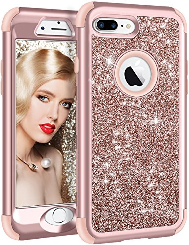 Bling Cell Phone Case - Vofolen iPhone 8 Plus Case, iPhone 7 Plus Case Glitter Bling Shiny Heavy Duty Protection Full-body Protective Hard Shell Rubber Bumper Armor with Front Cover for iPhone 8 Plus iPhone 7 Plus -Rose Gold
