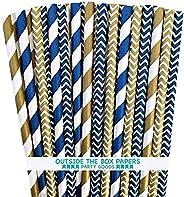 Outside the Box Papers Canudos de papel chevron e listras azul marinho e dourado, 19 cm, pacote com 100 unidad