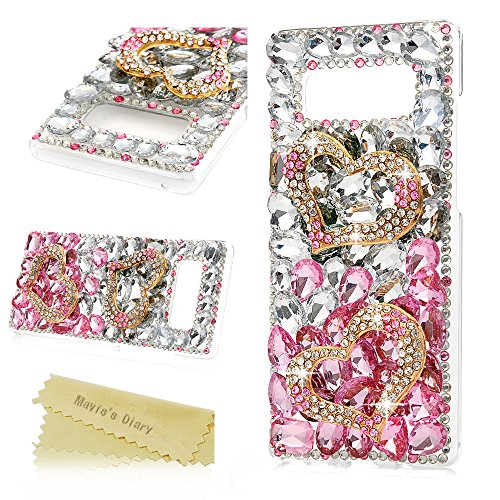 Note 8 Case,Mavis's Diary Luxury 3D Handmade Bling Crystal Rhinestone Full Diamonds Golden Double Loving Heart Hard PC Plastic Clear Protective Cover for Samsung Galaxy Note 8
