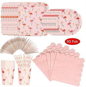 MAGRF 90 Juegos de vajilla Flamingo Party con Platos únicos ...