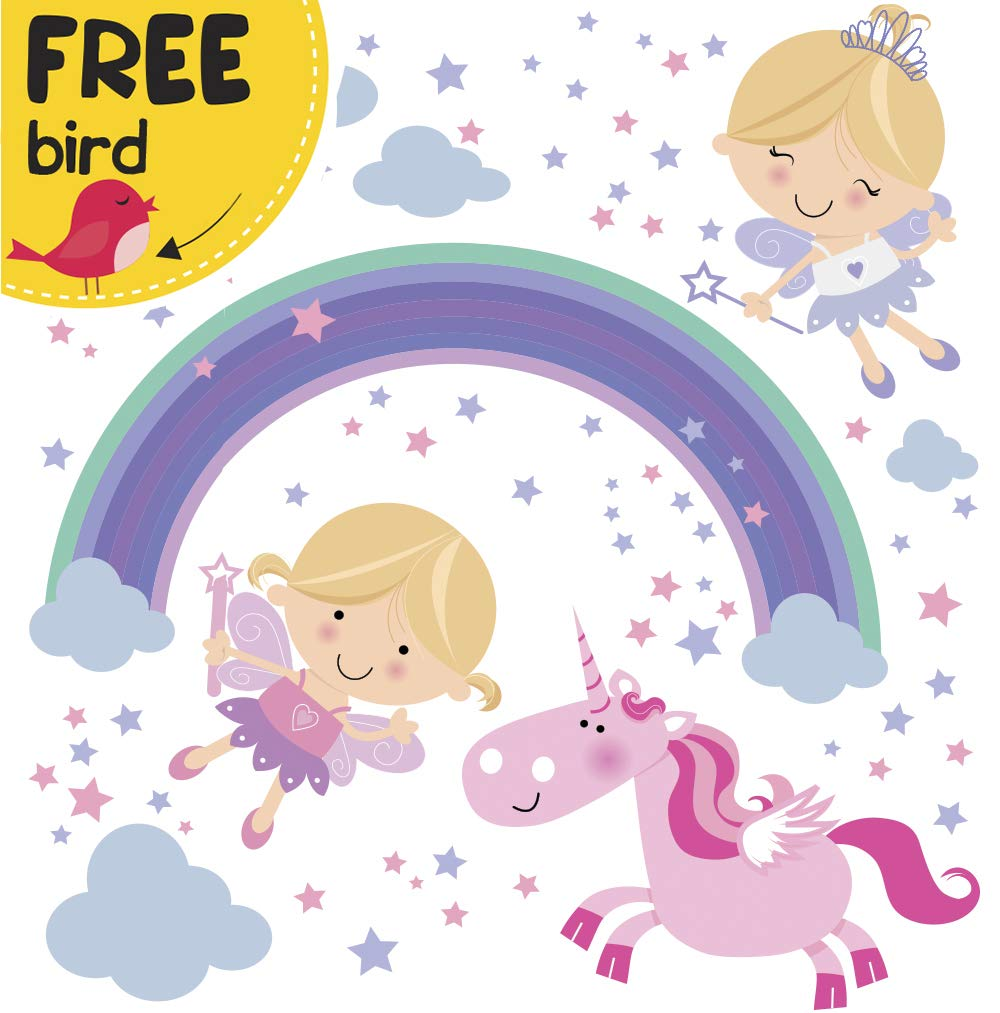 Unicorn Baby Girl Room Décor - Fairy Wall Stickers Childrens for Bedroom, Nursery, Playroom - with Free Gift! 8