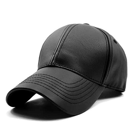 Image Unavailable. Image not available for. Color  LOCOMO Men Women PU  Synthetic Leather Baseball Cap Snapback FFH376BLK bb5ab0a90b2