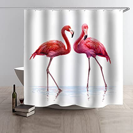 Beddinginn Bird Print Shower Curtain Waterproof Mildew Resistant Solid Color Bathroom Decor 7171 Inches