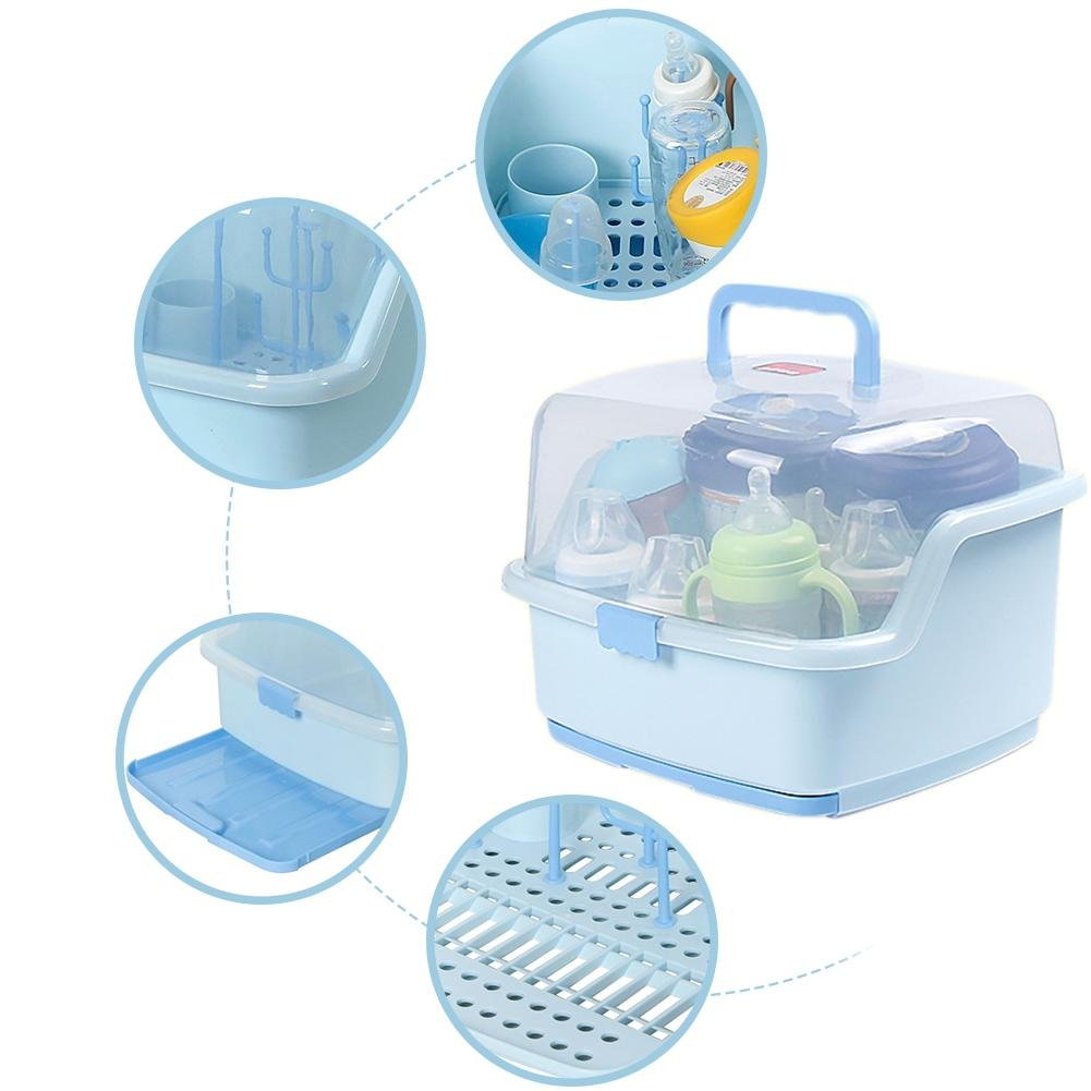 smileyshy Baby Dinnerware Organizer Baby Portable Bottle Drying Racks With Anti-dust Cover Large Nursing Bottle Storage Box Blue