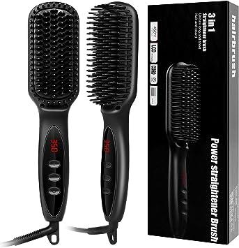 Hxq-top Peine alisador de barba para cabello eléctrico cepillo ...