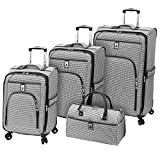 London Fog Cambridge 4 Piece Spinner Luggage Set (Black White Houndstooth)
