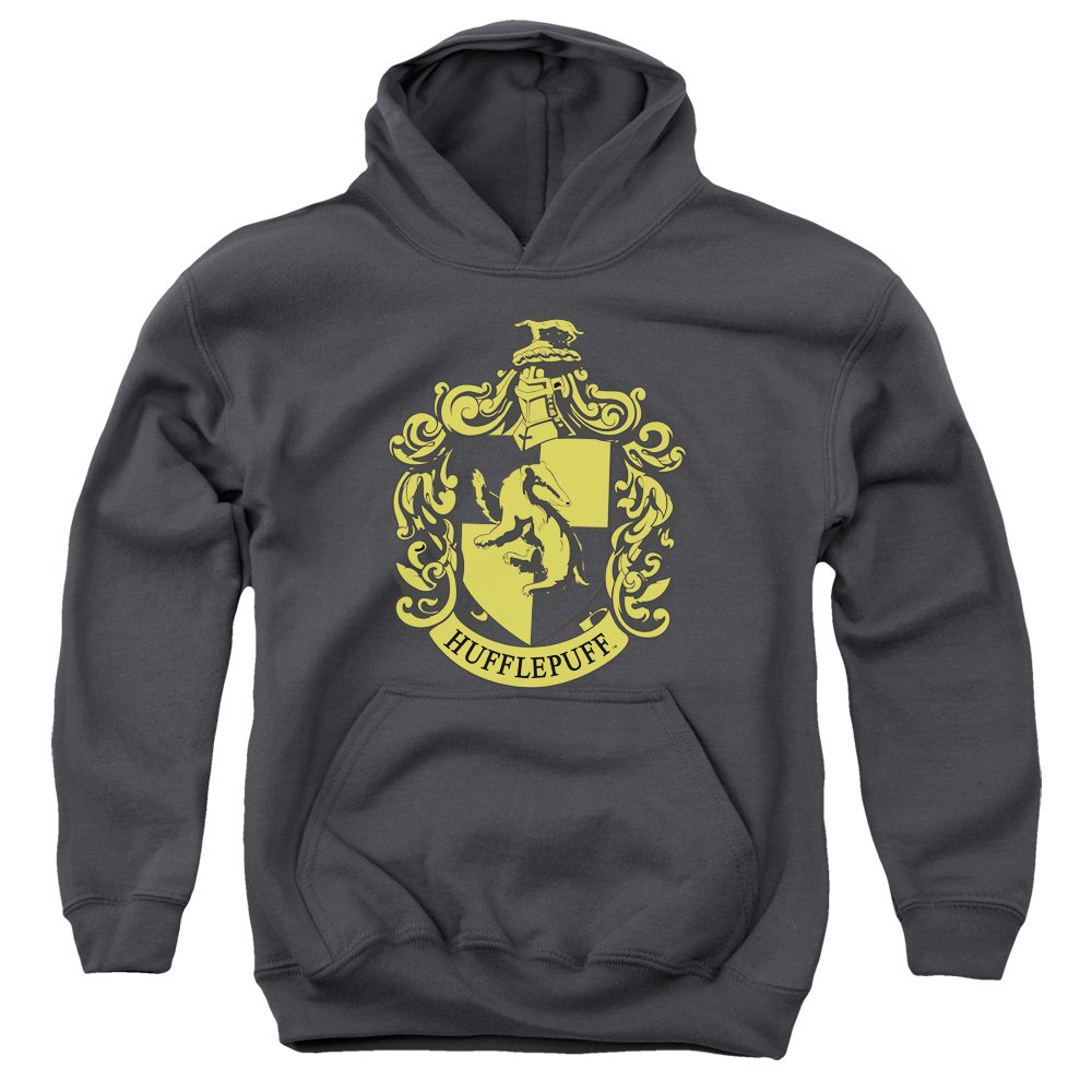 Harry Potter Hufflepuff Crest Youth Pull Over Hoodie Charcoal Trevco