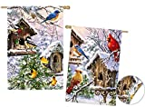 Cheap Evergreen Winter Birds of a Feather Suede House Flag, 29 x 43 inches