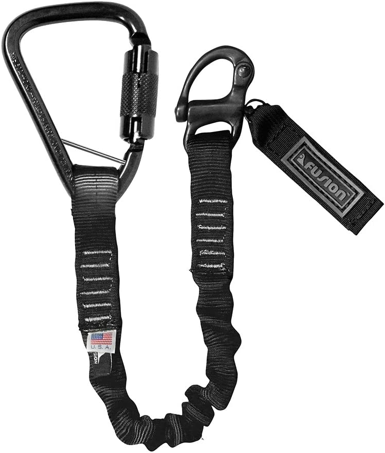 Fusion Tactical 6ft 72x1 Internal Elastic Bungee Military Police Personal Retention Helo Lanyard with Auto Locking Carabiner 23kN Black