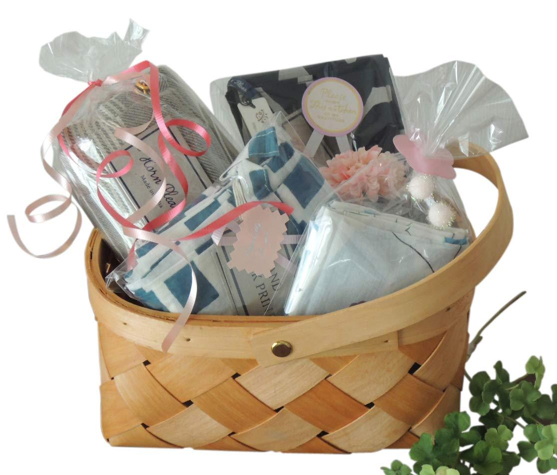 誕生祝い 北欧 もらってうれしいギフトセット おしゃれ 天然素材 エプロン バッグ バンダナ ブルー c_gift_011a   B07C1H73Q9