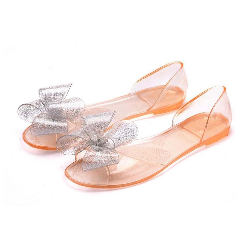 Angelliu Women Casual Open Toe Clear Bow Jelly Summer Sea Sandals Flats
