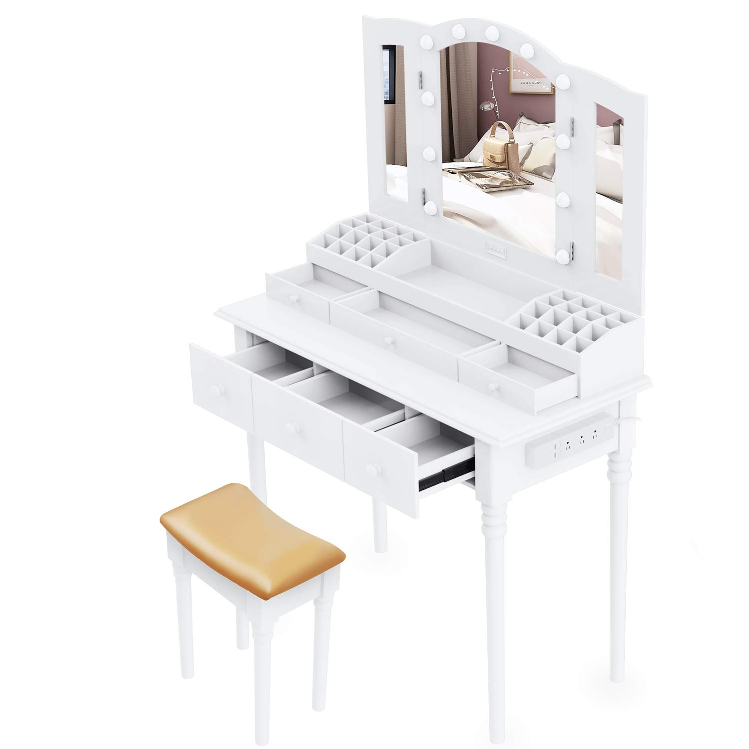 Dressing Table,Vanity Set Multifunctional Makeup Table with Stool Large Storage Vanity with Big Mirror Waterproof LED Light Bulbs and A Socket by Suninhome