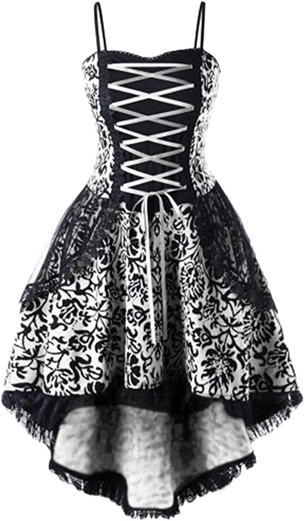 NDGDA Vintage Fit and Flare Ladies Punk Vintage Party Dress Women Strappy Lace Up Dress