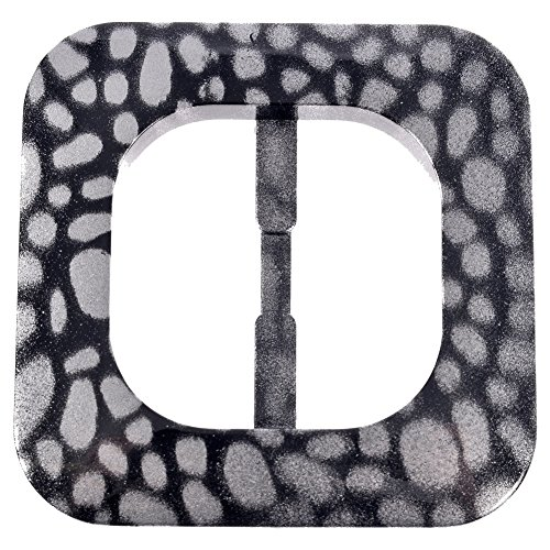 Mibo Nylon Sprayed Buckle Square Shape with Rounded Edges Spotted Pattern Metalic Silver on Black 40mm Inside ()