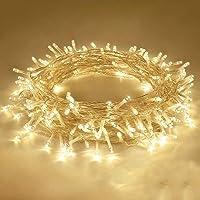 شريط اضاءة بطول قابل للتمديد، مكون من 100 مصباح ليد شفاف مقاوم للماء بطول 10 متر، مناسب للاستخدام داخل المنزل وخارجه…