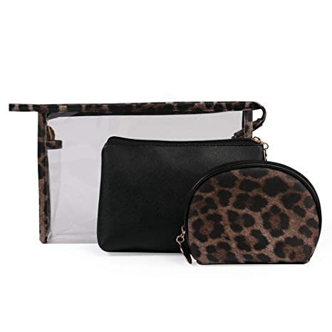 a72cded5e5fa Amazon.com: 3pcs/Set Leopard PVC Bags Cases Print Cosmetic Bag Women ...