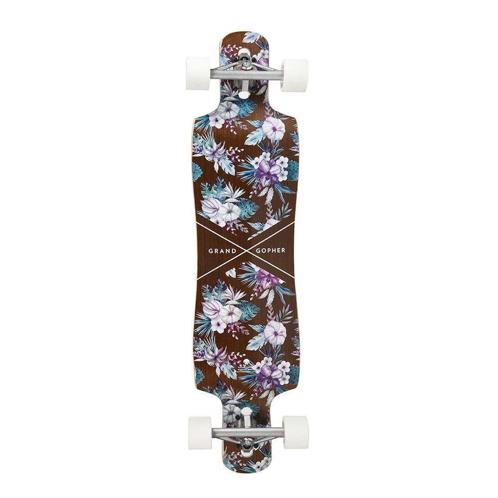 Grand Gopher Floral Wood Skate Board Cruiser Longboard by Hamboards (Image #2)