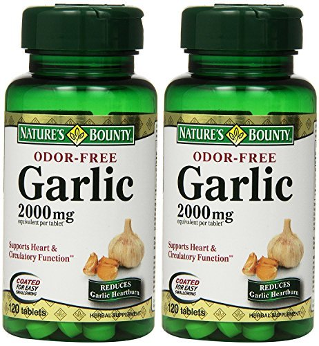 Nature's Bounty Garlic, 2000mg, Odor-Free, 120 Tablets (Pack of 2) by Nature's ()
