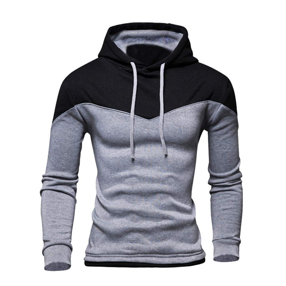 MASHAN Male Hooded Hoodies Sweatshirt Autumn Clothes Men Sweatshirt Pullover Long Sleeve Patchwork,Gray,S,China