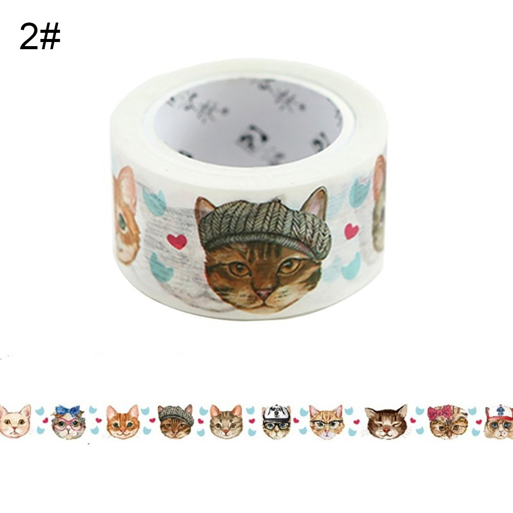 Lovely Cartoon Cat Adhesive Washi Tape DIY Scrapbooking Card Decorative Tape Sticker (2#) by mosichi (Image #1)
