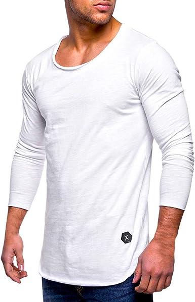 Camiseta de Manga Larga con Cuello en V y Manga Larga de algodón ...