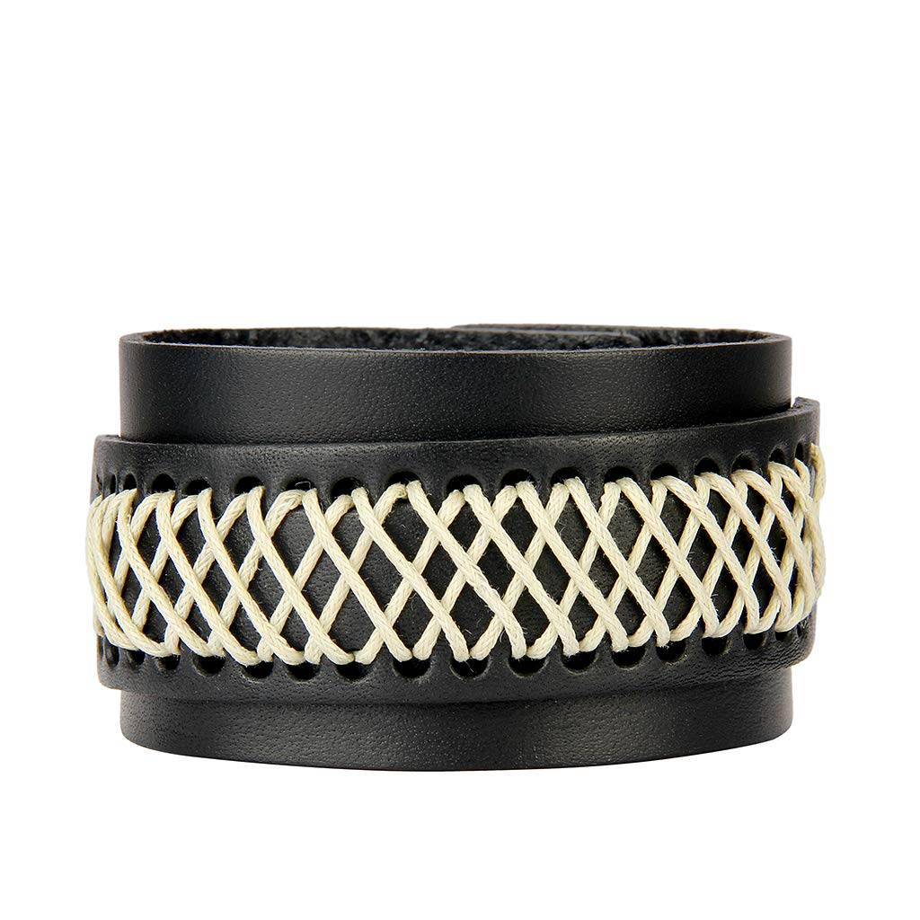 Jenia Leather Bracelet for Men Rope Braided Cuff Bracelet Punk Adjustable Wristband Wrap Bracelet Handmade Jewelry for Boys, Kids, Teens by Jenia (Image #2)