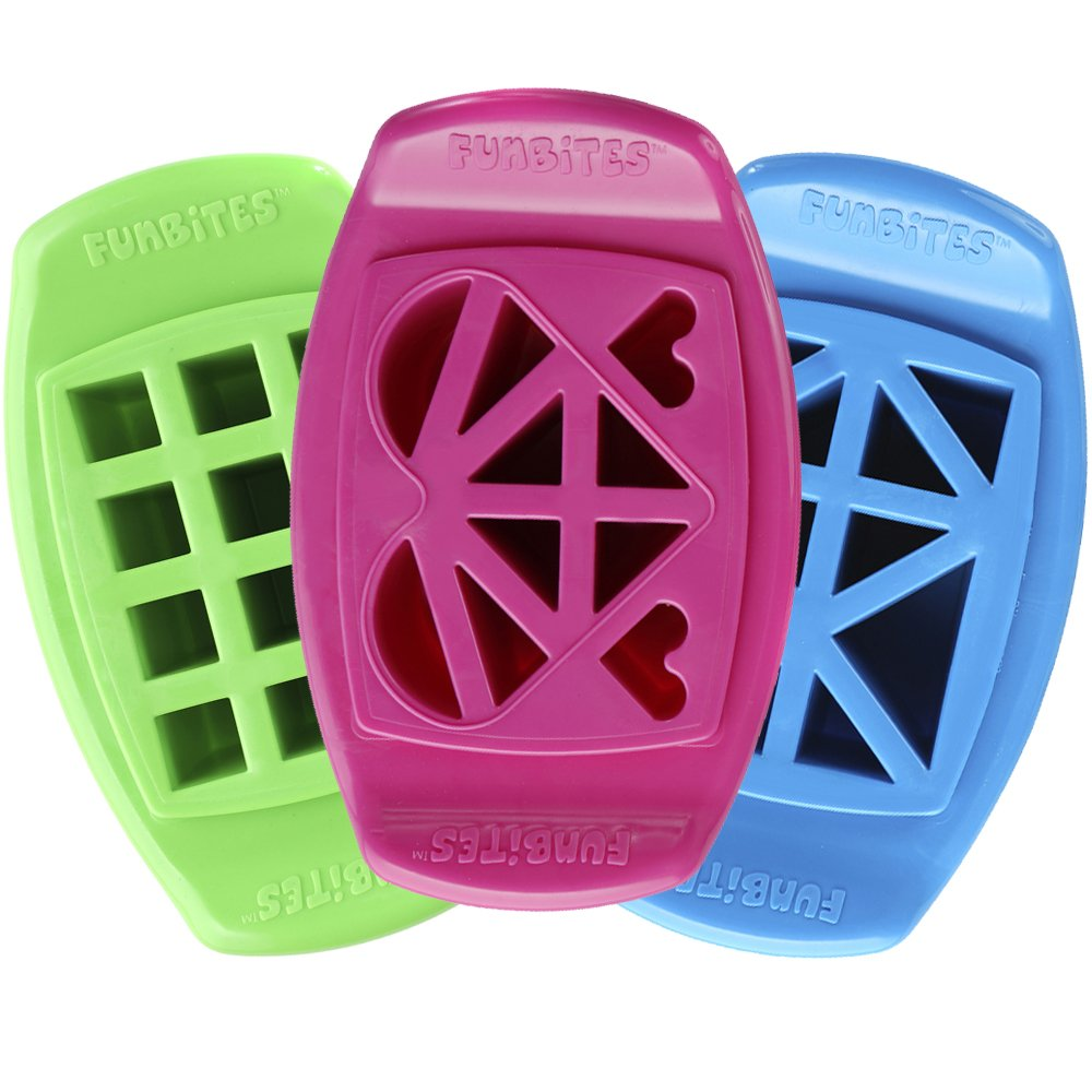 FunBites Set of 3 Food Cutters, Green Squares, Pink Hearts, Blue Triangles