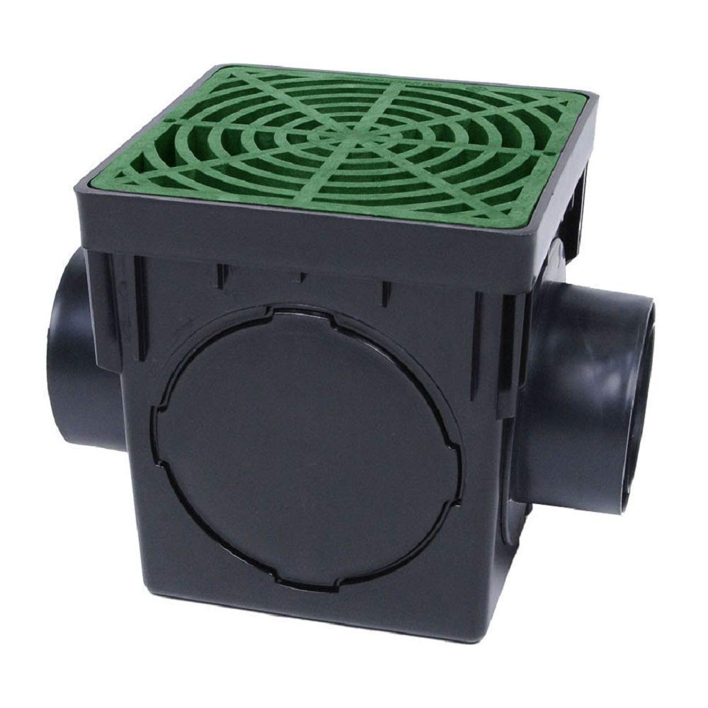 LTD Storm Drain FSD-090-K 9'' Square Catch Basin Kit Drain Box with Green Grate