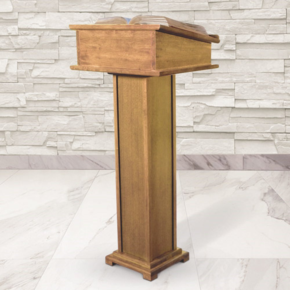 Religious & Christian, Full Lectern with Shelf - Walnut Stain