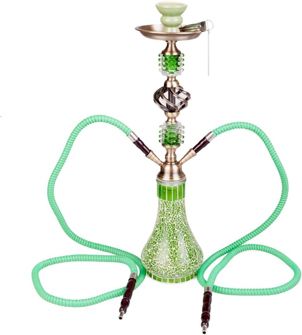 Ketou Cachimba Pipa de Agua Shisha hookah 2 Tubos Mangueras 55cm de altura Waterpipe (Verde)