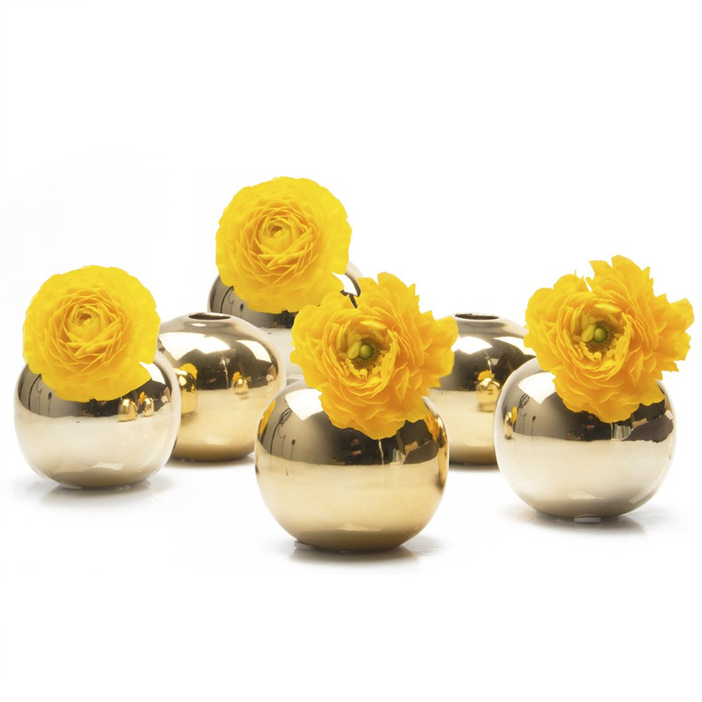 """Chive - Set of 6 JoJo Small 3"""" Sphere, Round Ceramic Flower Vase, Decorative Modern Floral Vase for Home Decor Living Room Centerpieces and Events, Cute Bud Vase (Gold)"""
