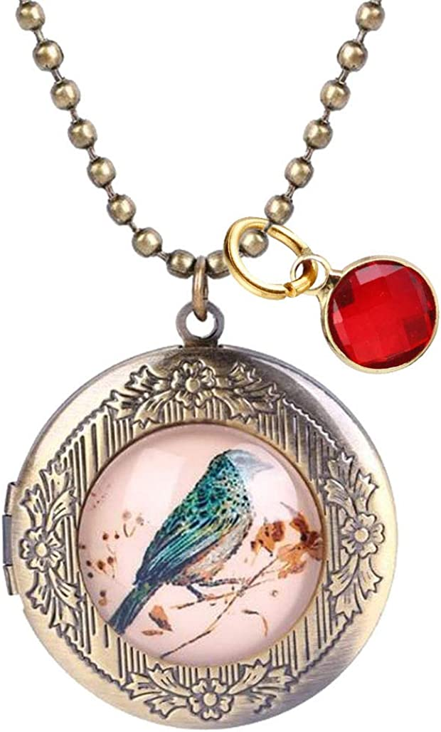 Sojewe Vintage Magpie Bird Flower Pendant Locket Necklace with July Birthstone Crystal Gold Plated