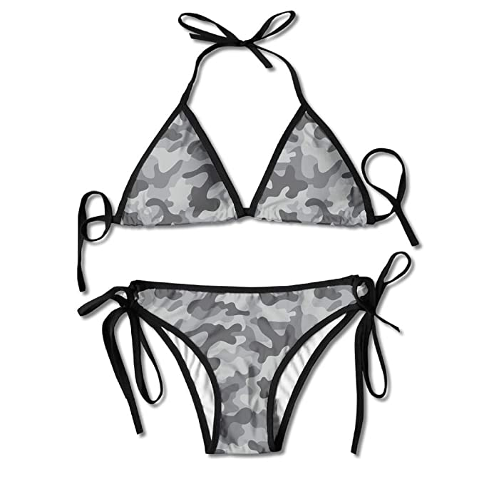 345ab259ea Image Unavailable. Image not available for. Color: Black Grey Army  Camouflage Women's Sexy Bikini Set Swimsuit Bathing Suit Halterneck Triangle  Swimwear