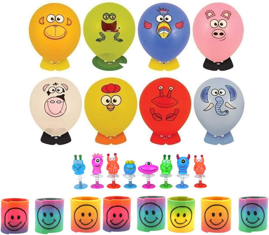 y 8 muelles KINPARTY /® Ideales para regalos de cumplea/ños fiestas 8 Globos para decorar con pegatinas caras animales relleno de pi/ñatas