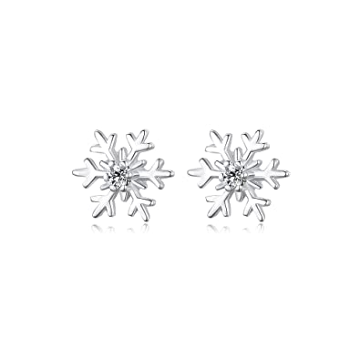 5cfe6f74c VANA JEWELRY 925 Sterling Silver Round Cubic Zirconia Snowflake Stud  Earrings Suitable for All Women: Amazon.co.uk: Jewellery