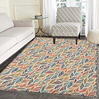 Boho Non Slip Rugs Abstract Feather Wave Pattern with Retro Look and Artistic Colorful Short Lines Curves Door Mats for inside Non Slip Backing 3x4 Multicolor