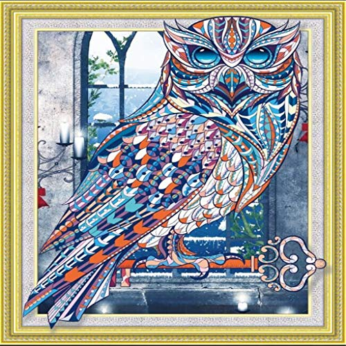 (Baulody Special Shaped Diamond Painting Owl Handmade DIY Shaped Craft Round Diamond Drawing Living Room Bedroom Embroidered Cross Embroidery Wall Decorative Picture Ornament (A))