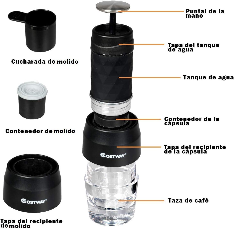 COSTWAY Máquina de Café Manual Espresso Portátil 2 en 1 Mini Cafetera para Cápsulas Nespresso y Café Molido: Amazon.es: Hogar